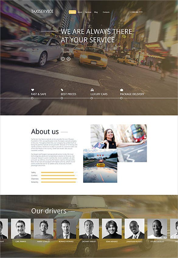 taxi services responsive drupal website template
