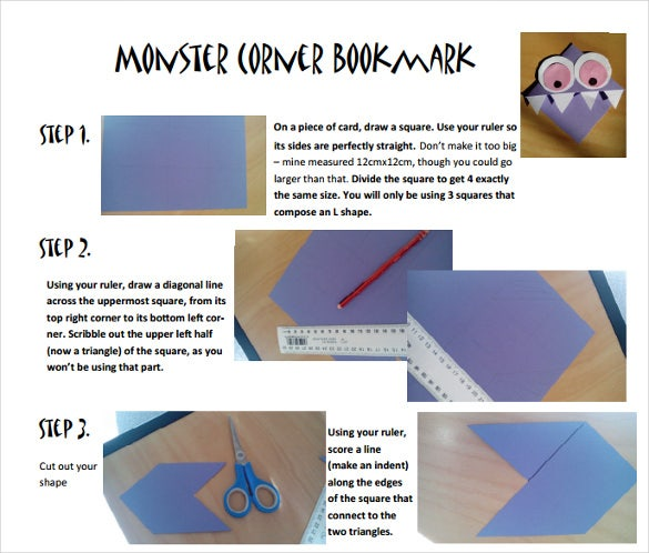 Monster Corner Bookmark Template