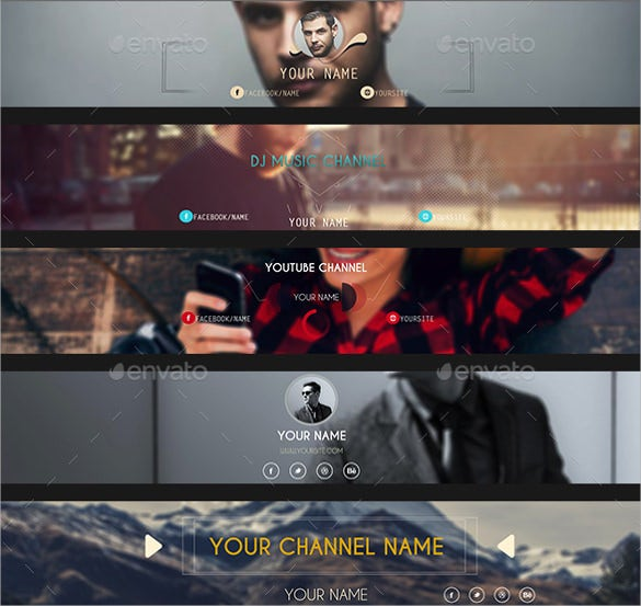 music channel youtube banner sample template