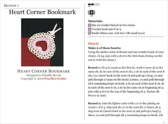 heart corner bookmark template