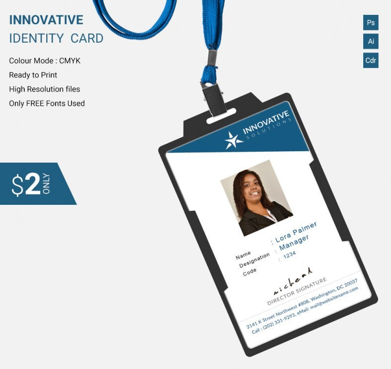 Company Id Card Format Design Simple Innovative Identity Template Free Premium Templates