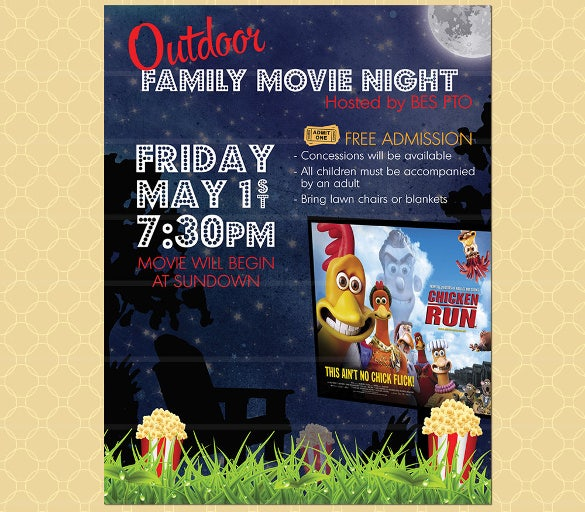 perfect outdoor movie night event flyer