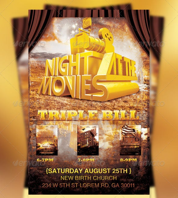 Wonderful Free Editable Movie Night Flyer Template
