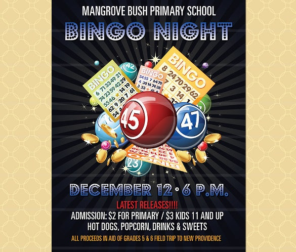 colorful bingo movie night event flyer