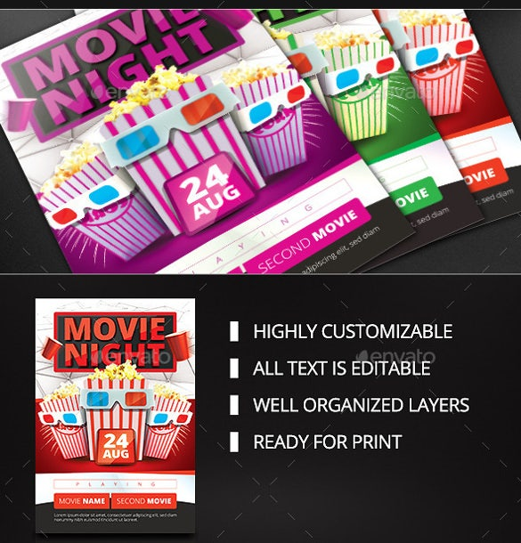 highly customizable psd movie night flyer