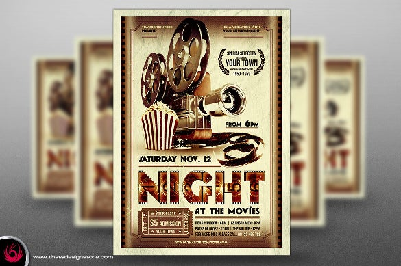 Movie Night Flyer Template - 18+ Free JPG, PSD Format Download ...