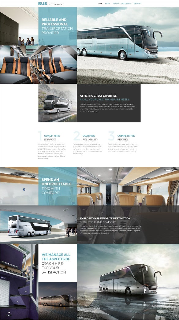bus coach hire website template