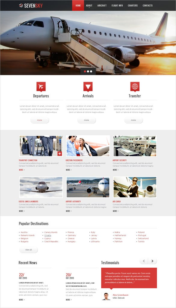 private air trasportation website template