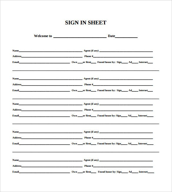sign in sheet for open house template free