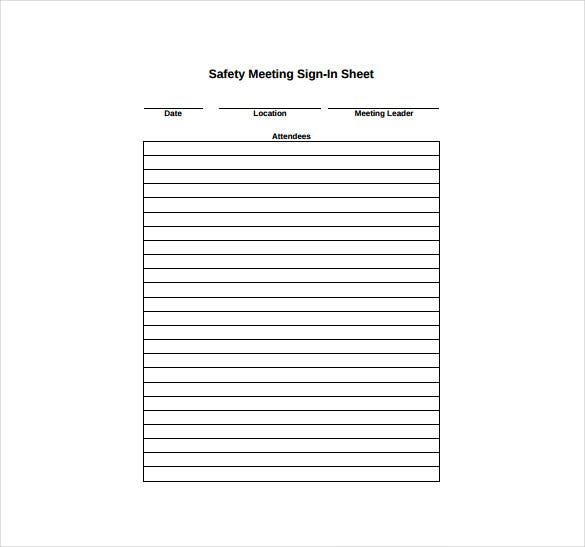 safety meeting sign in sheet pdf format free download