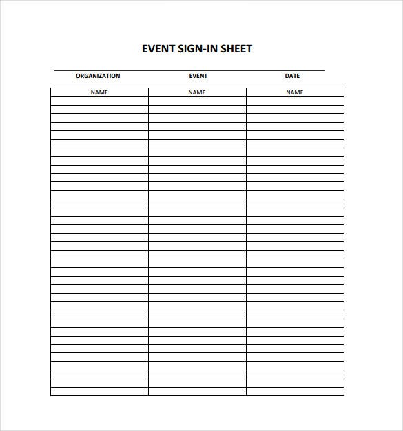 18 Sign In Sheet Templates Free Sample Example Format – Sign in Sheet