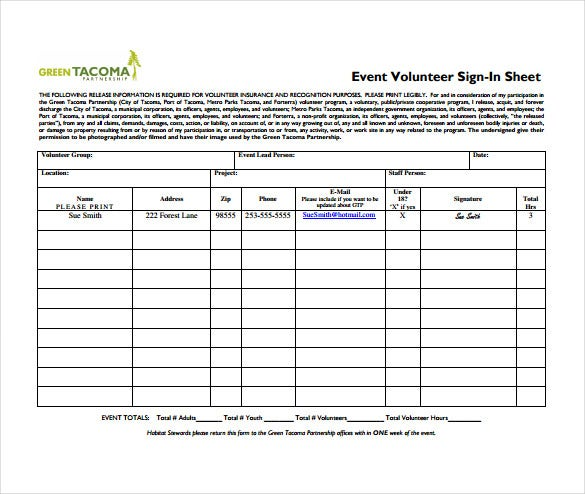 event volunteer sign in sheet pdf format free download