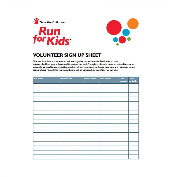 volunteer sign up sheet samlple template free download