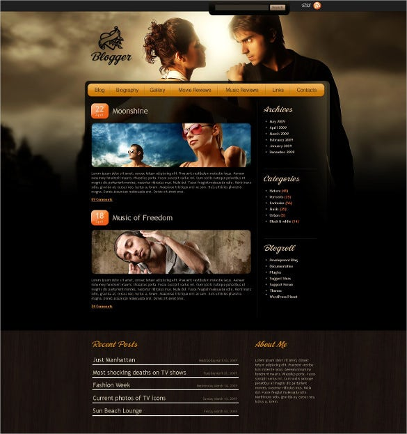 music blog psd template