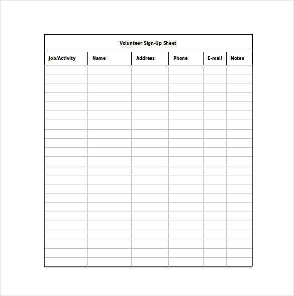 volunteer sign up sheet excel format free download