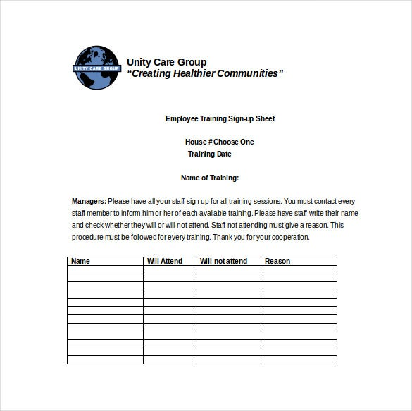 employee training sign up sheet word format free download