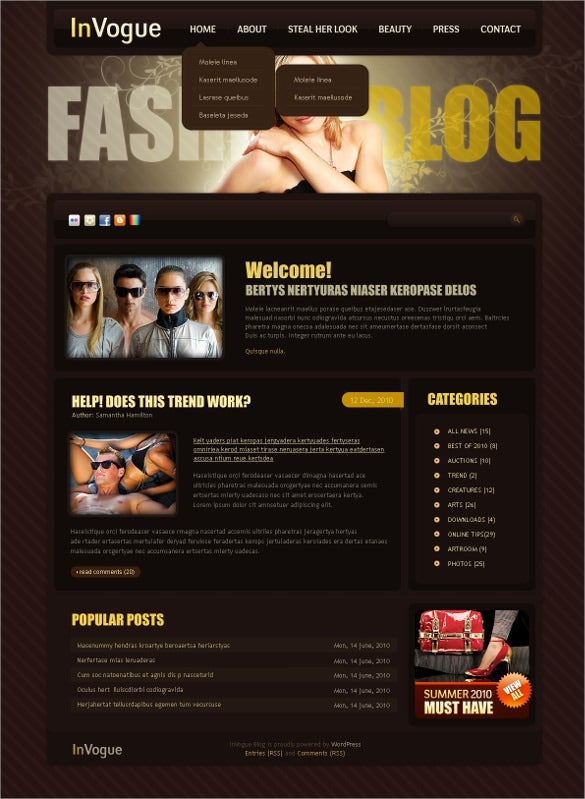 fashion blog psd template