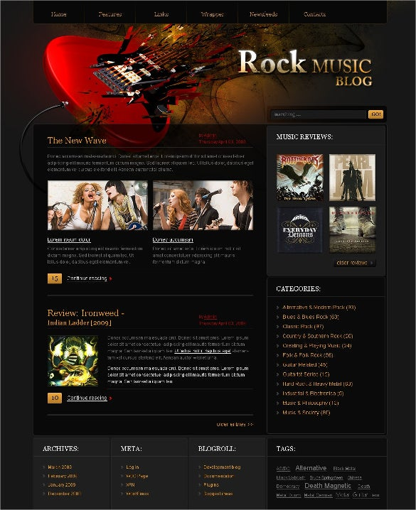 rock music blog psd template