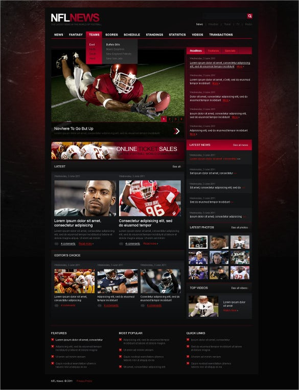 sports news blog psd template