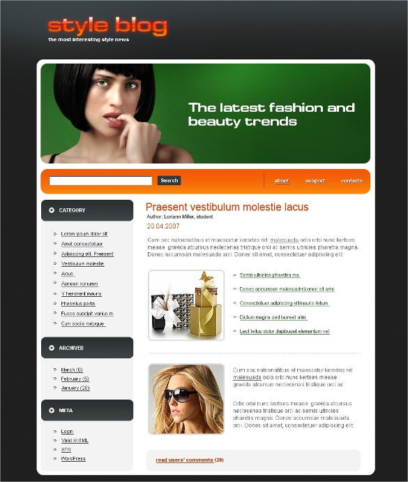 fashion psd blog template