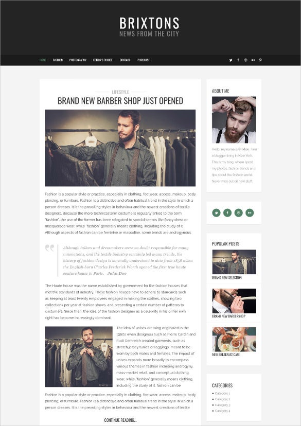 minimal personal psd blog template1
