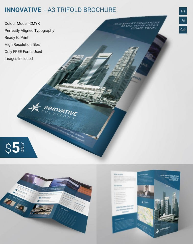 Lavish Innovative A Tri Fold Brochure Template Free Premium - Business brochures templates