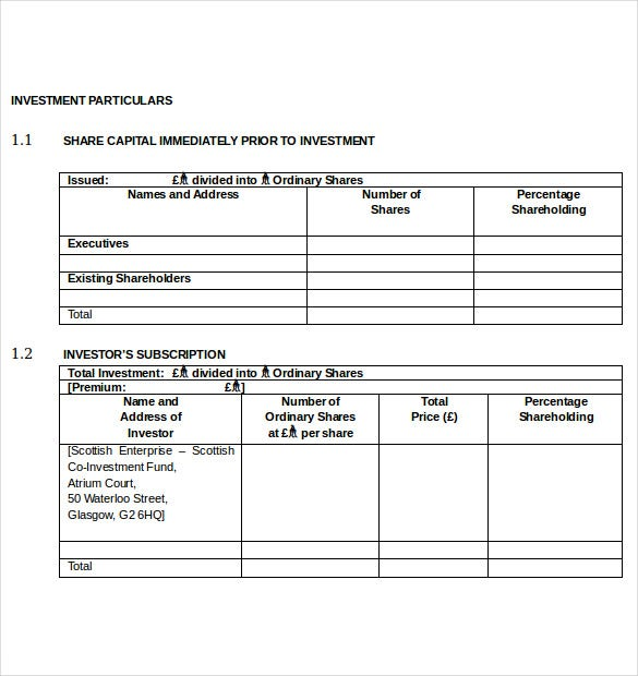 Small Business Investment Agreement Template Word Document  Investor Contract Sample