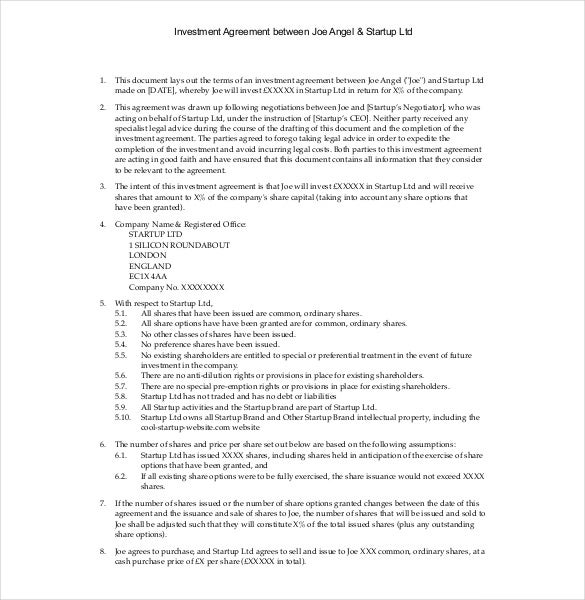 Beautiful Investment Agreement Between Angel U0026 Startup Template PDF Format
