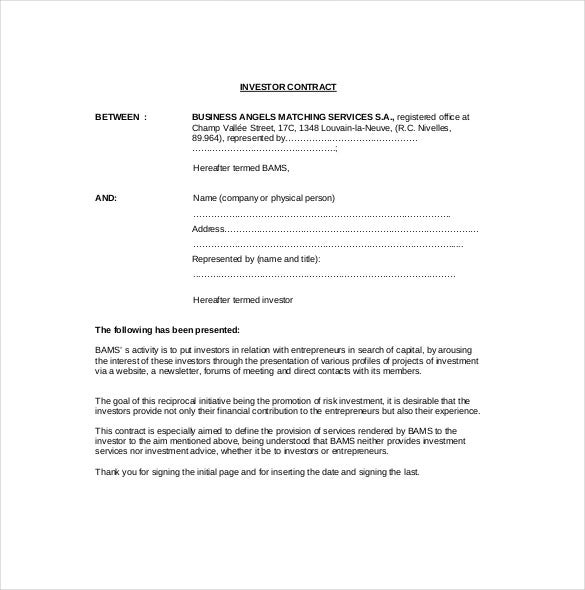 Investment Agreement Templates PDF DOC Xls Free Premium - Best of angel investor contract design