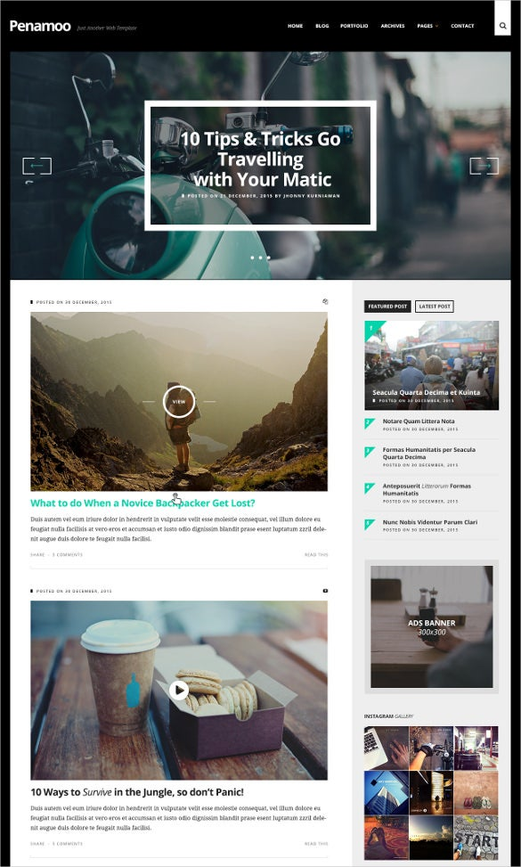 traveling blog psd template