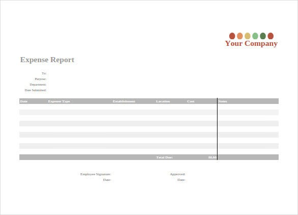 google business expense report sheet template download