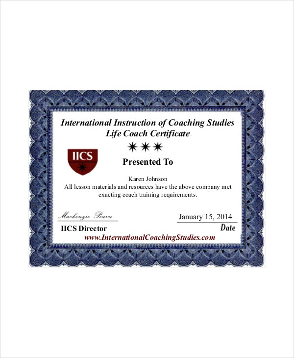 Coach Certificate Template 10free Word Pdf Documents Download
