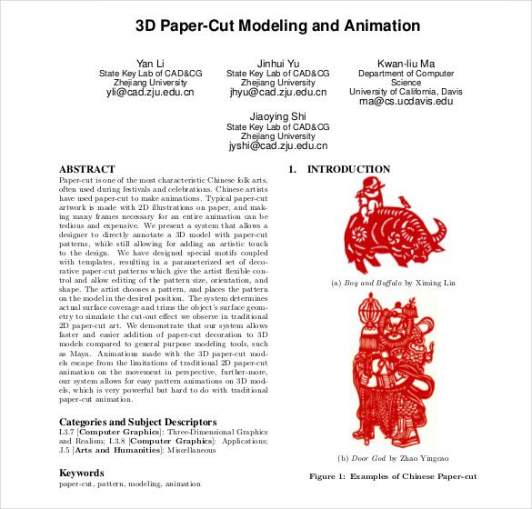3d paper cut pdf format free template