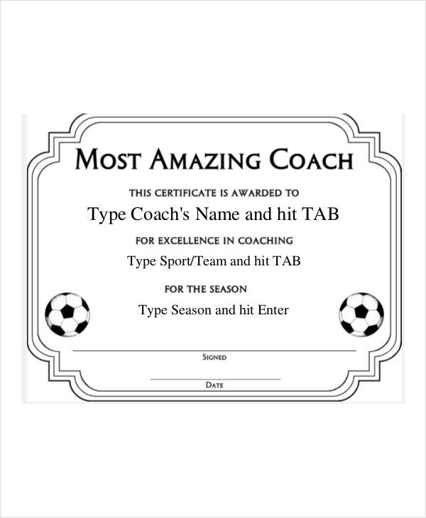 most amazing coach certificate template