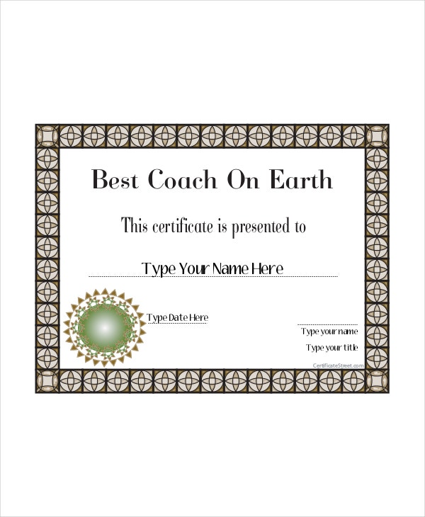 best coach certificate template