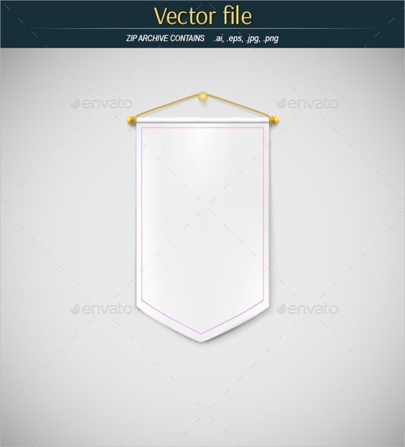 white sample pennant banner template