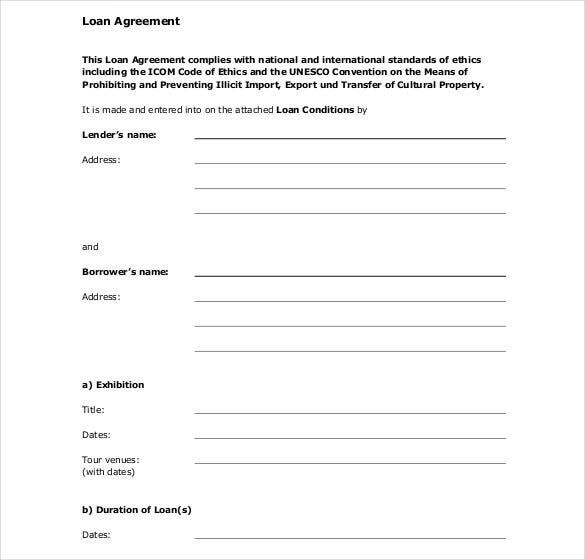 Loan Contract Template   Examples In Word Pdf  Free