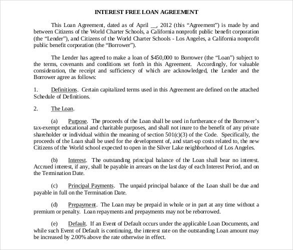 Doc468605 Loan Contract Template Word 5 Loan Agreement – Loan Contract Example