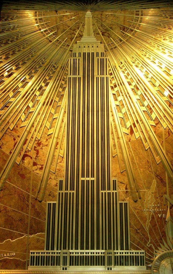 art deco painting of mural empire state building