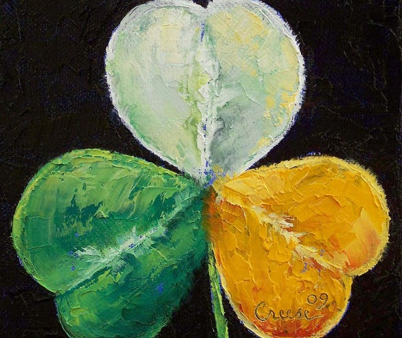 irish shamrock deco art painting