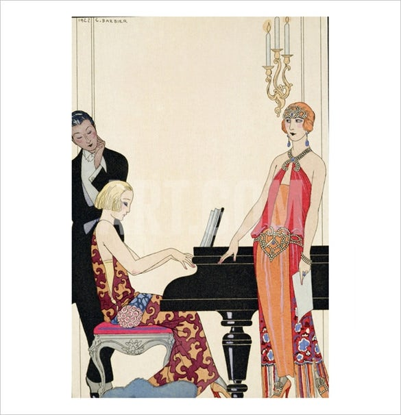 georges barbier incantation illustration arct deco poster
