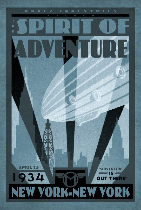 spirit of adventure art deco poster printable