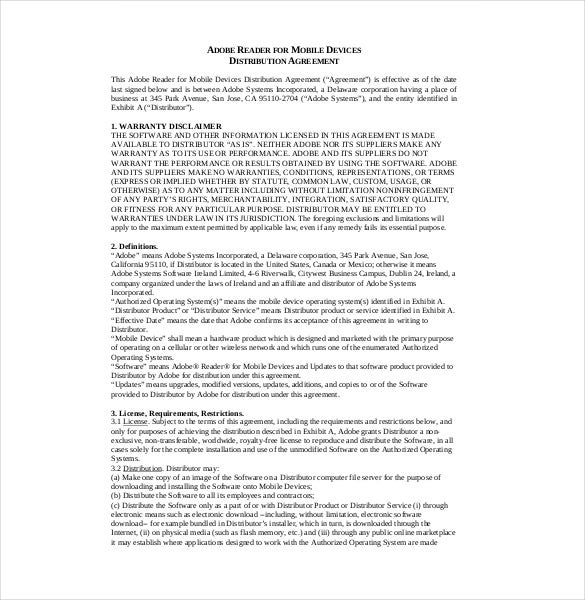 Distribution Agreement Template – 10+ Free Word, Pdf Documents