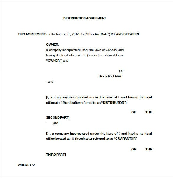 owner distributution agreement template