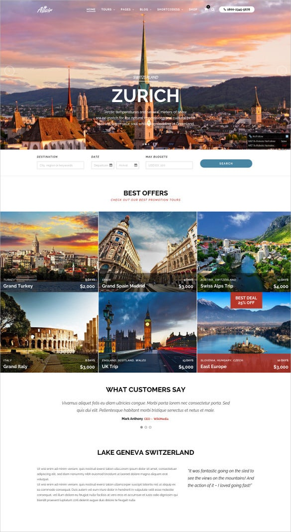 tour travel agency blogger template