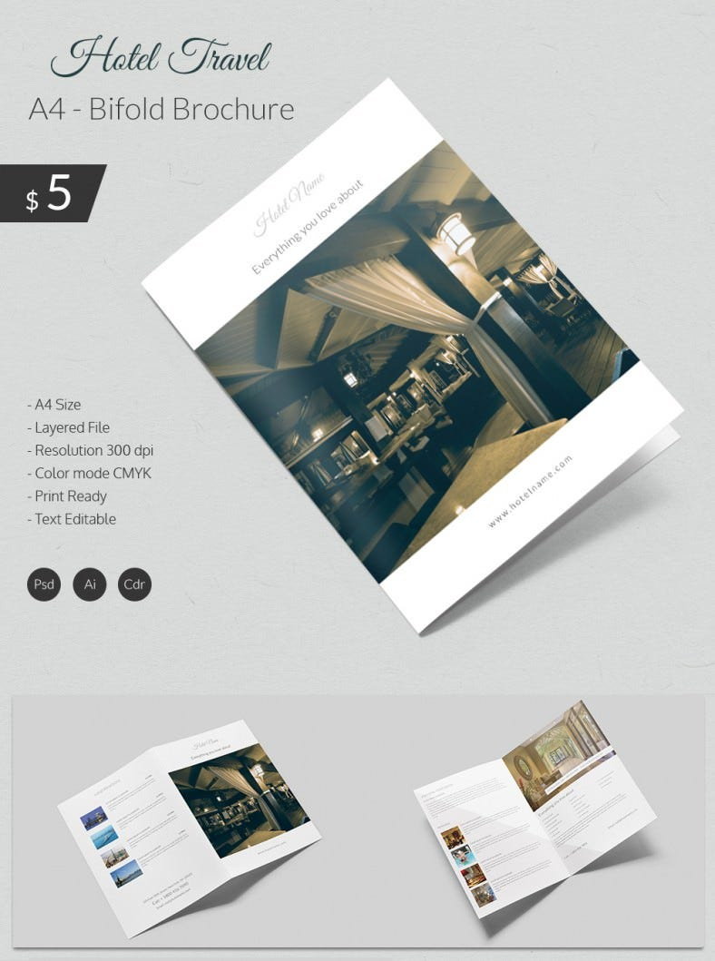 Dazzling Hotel Travel A Bi Fold Brochure Template Free - Two fold brochure template free