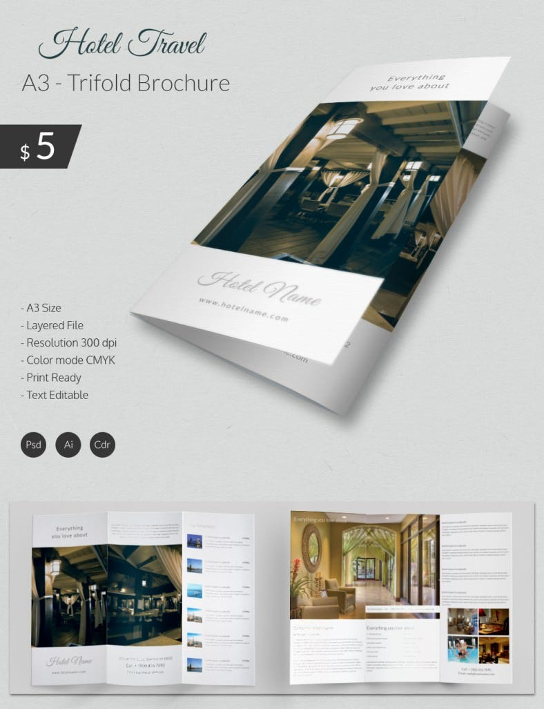 Excellent Hotel Travel A Tri Fold Brochure Template Free - Free tri fold brochure templates for word