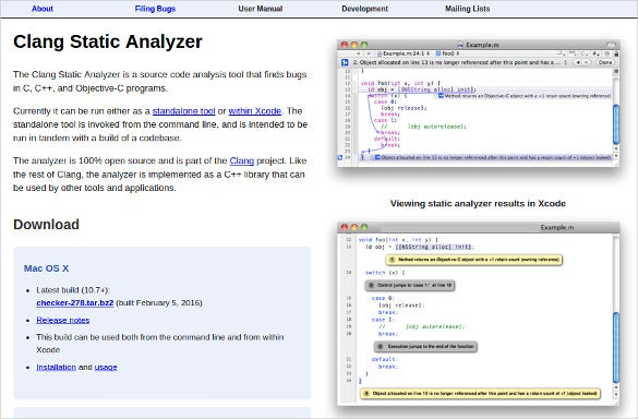 clang static analyzer download