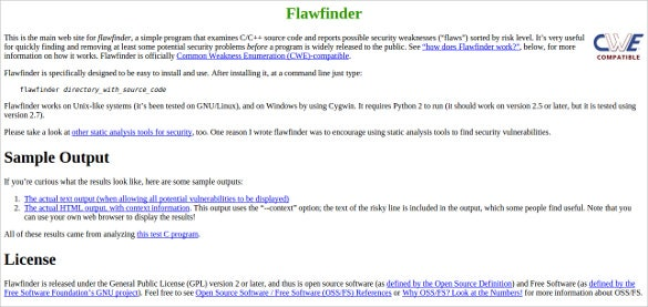 flawfinder open source analysis tool