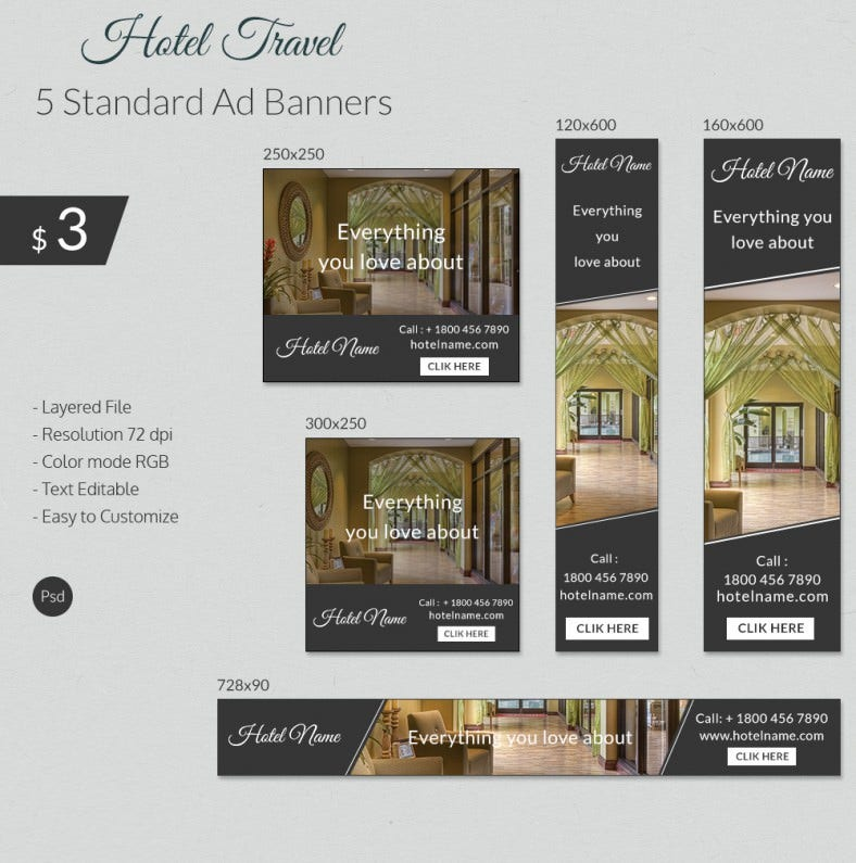 trendy hotel  u0026 travel ad banner